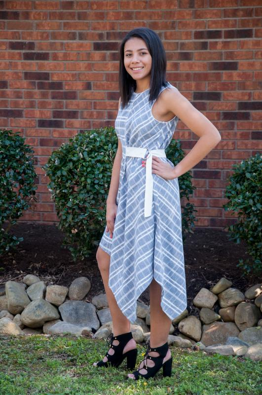 BLUE/WHITE BELTED DRESS